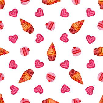 Watercolor seamless pattern with hand painted watercolor cupcake, macaroons and sweet hearts. hand drawn vector watercolor