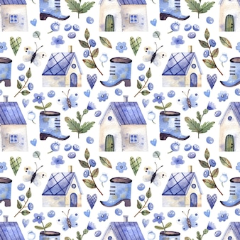 Watercolor seamless pattern with houses blueberry branches blueberries flowers butterflies
