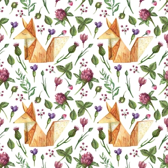Watercolor seamless pattern with illustration of origami fox and wildflowers.