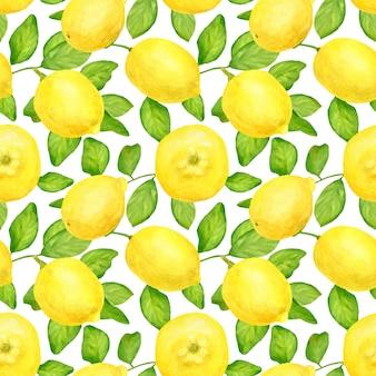 レモンと葉の水彩のシームレスパターン