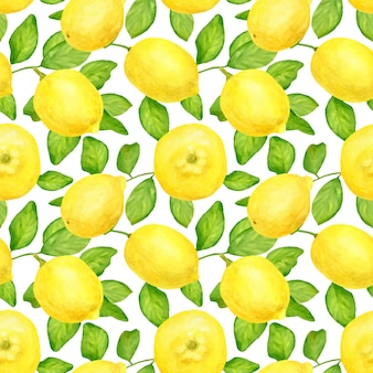 Watercolor seamless pattern with lemons and leaves