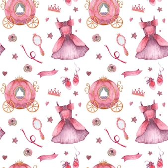 Watercolor seamless pattern with little princess apparel and accessories