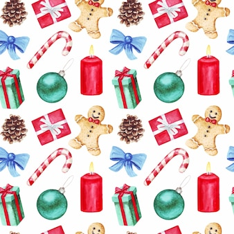 ロリポップ、ジンジャーブレッドマン、クリスマスボール、弓、キャンドル、コーンと水彩のシームレスなパターン。