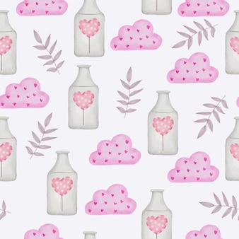 Watercolor seamless pattern with love object, isolated watercolor valentine concept element lovely romantic red-pink hearts for decoration, illustration.