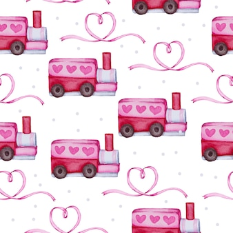 Reticolo senza giunte dell'acquerello con oggetto di amore, elemento di concetto di san valentino dell'acquerello isolato adorabili romantici cuori rosso-rosa per la decorazione, illustrazione.