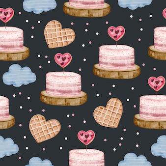사랑 개체, 고립 된 수채화 발렌타인 개념 요소와 수채화 원활한 패턴 장식, 그림에 대 한 사랑스러운 로맨틱 레드-핑크 하트.