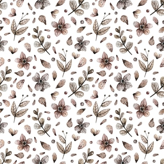 Watercolor seamless pattern with magic wild flowers.
