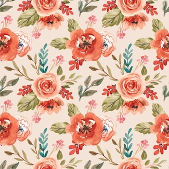 봄에 대 한 orang 꽃 꽃과 수채화 원활한 패턴