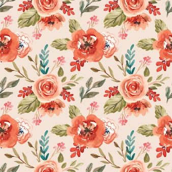 Watercolor seamless pattern with orang blossom flower for spring