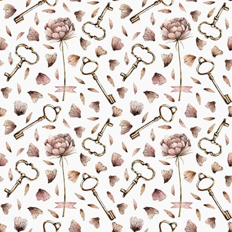 Watercolor seamless pattern with peonies, petals and keys in vintage style.