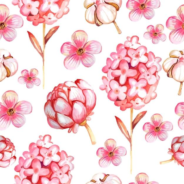 ピンクの花と水彩のシームレスなパターン