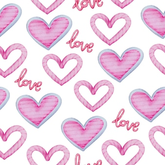 Watercolor seamless pattern with pink hearts and love letter, valentine concept element lovely romantic red-pink hearts for decoration, illustration.
