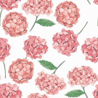 ピンクのアジサイの花と水彩のシームレスパターン