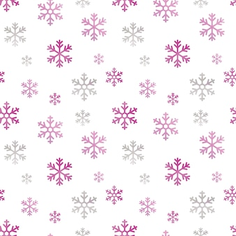 Watercolor seamless pattern with pink snowflakes