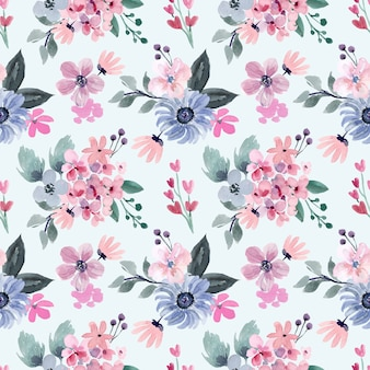 Watercolor seamless pattern with pink and soft blue flowers