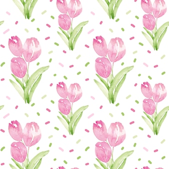 Watercolor seamless pattern with pink tulips