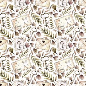 Watercolor seamless pattern with plants, keys, stamps and letters in vintage style.