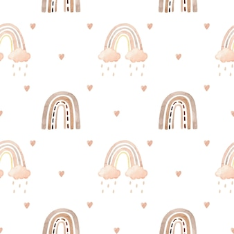 Watercolor seamless pattern with rainbows, clouds and hearts