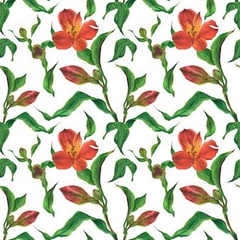 赤いアルストロメリアの芽と花の水彩画のシームレスパターン