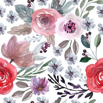 赤いバラと紫の花と水彩のシームレスなパターン