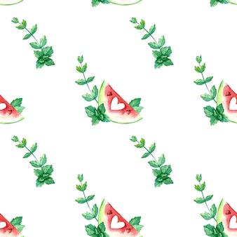 赤いスイカと水彩のシームレスなパターン