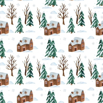 Watercolor seamless pattern with snow winter forest and house