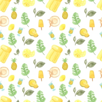 Watercolor seamless pattern with summer elements