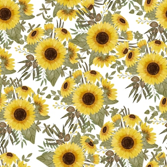 Watercolor seamless pattern with sunflower