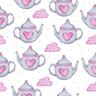 Reticolo senza giunte dell'acquerello con teiera e cuore sulla nuvola rosa, elemento di concetto di san valentino dell'acquerello isolato adorabili romantici cuori rosso-rosa per la decorazione, illustrazione.
