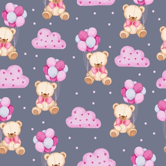 Watercolor seamless pattern with teddy bear holding balloon  and pink cloud, isolated watercolor valentine concept element lovely romantic for decoration, illustration.