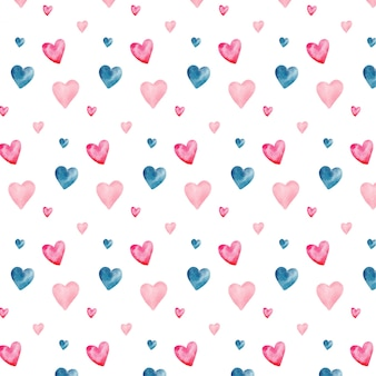 Watercolor seamless pattern with valentine's hearts