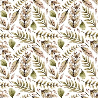 Watercolor seamless pattern with various wild leaves and plants.