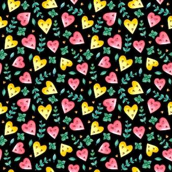 スイカの心と水彩のシームレスなパターン