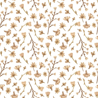 Watercolor seamless pattern with white flowers in a romantic style.