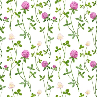 Watercolor seamless pattern with white and red clover flowers