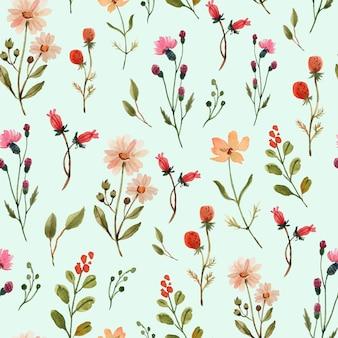 野花と水彩のシームレスなパターン