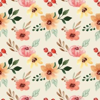 黄色とオレンジ色の花と水彩のシームレスなパターン