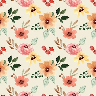 Watercolor seamless pattern with yellow and orange flower