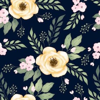 黄色いバラの花と水彩のシームレスなパターン
