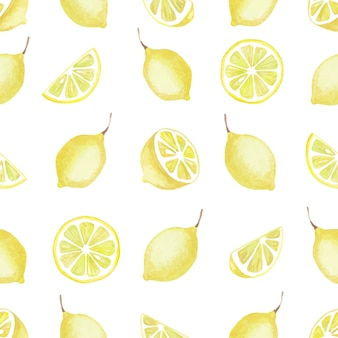 Watercolor seamless pattern of yellow lemon elements