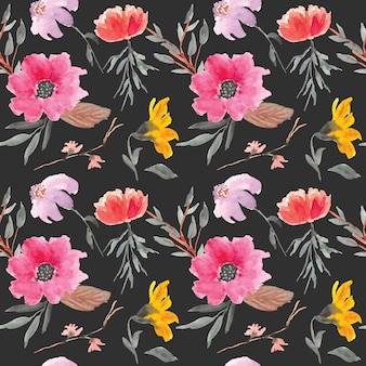 Watercolor seamless pattern yellow and pink flowers