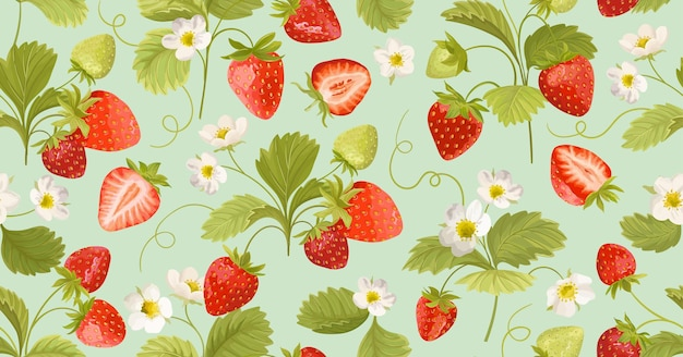 Watercolor seamless strawberry pattern with flowers, wild berries, leaves. vector background texture illustration for summer cover, botanical wallpaper, vintage party backdrop, wedding invitation