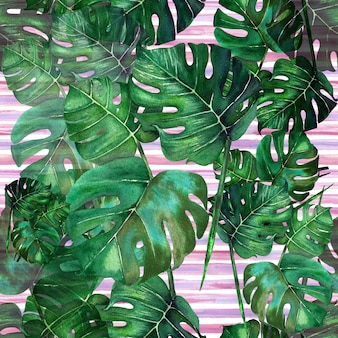 Watercolor seamless tropical leaves pattern