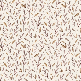Watercolor seamless vector pattern with forest leaves.
