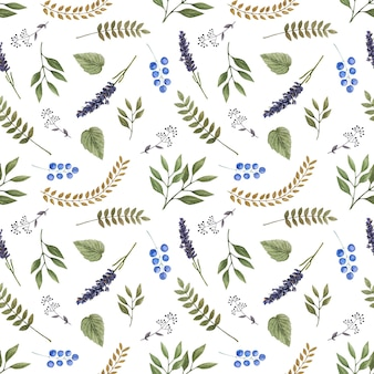Watercolor seamless vector pattern with wild forest flowers.