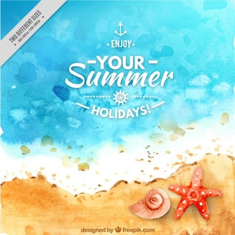 Watercolor seashore with starfish and seashell background