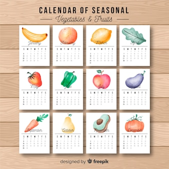 Watercolor seasonal food calendar