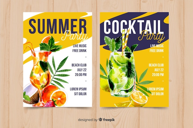 Watercolor seasonal poster template collection