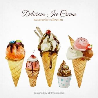 Watercolor selection of tasty ice creams