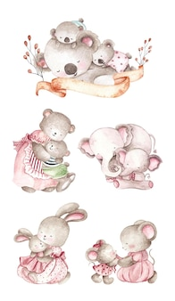 Watercolor set of baby and mom animal